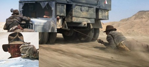 raiders of the lost ark, indy and truck, steven spielberg