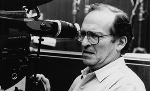 Filmmaker Sidney Lumet on set