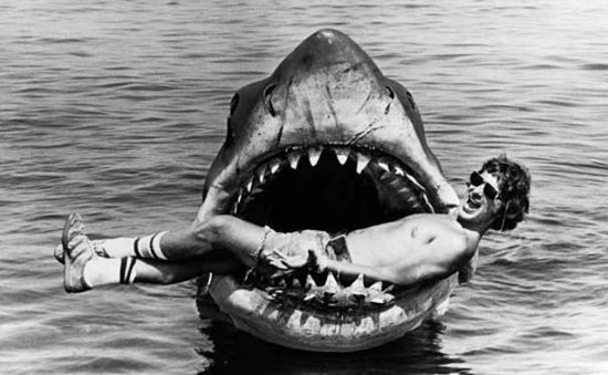 steven spielberg in the mouth of Jaws