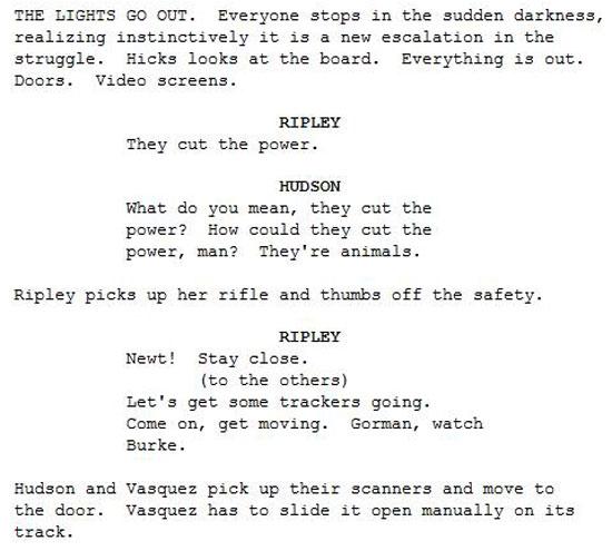 aliens screenplay script james cameron