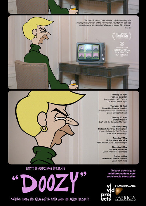 In Doozy, artist-filmmaker Richard Squires creates animated antihero 'Clovis' (voiced by Kids in the Hall comedian Mark McKinney) to look through the lens of one of Hollywood's hidden queer histories by re-enacting some of the wilder episodes from Paul Lynde's colourful life.