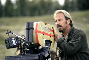 Kevin Costner on the set of Open Range