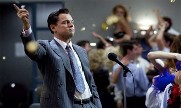 Leonardo DiCaprio in Martin Scorsese's The Wolf of Wall Street