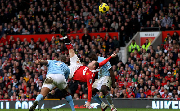 wayne rooney goal manchester city, old trafford,