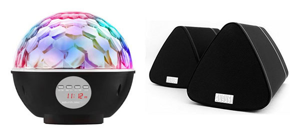 A disco-ball Bluetooth speaker from iTek will definitely thrill the kids while a set of stylish Bluetooth speakers from August offer a more relaxed musical experience.