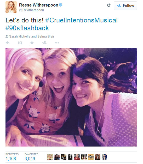 Cruel Intentions Musical reunion for Sarah Michelle Geller, Reese Witherspoon and Selma Blair