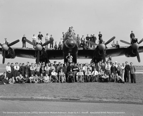 The Dam Busters Cast and Crew (1955). Copyright - Elstree Studios / Associated British Picture Corporation