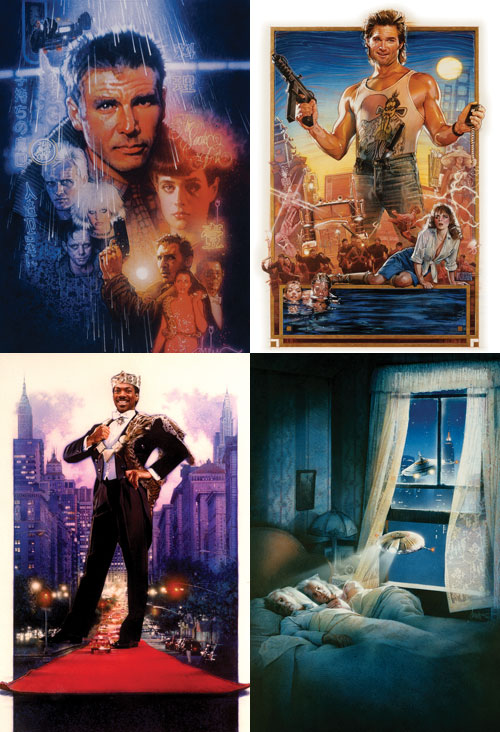 drew struzan, blade runner, coming to america, big trouble in little china, movie posters, batteries not included