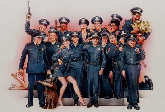 Drew Struzan, police academy, film poster, airbrush, painter
