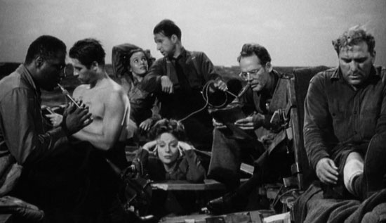lifeboat, hitchcock, world war 2, boat, ensemble, suspense