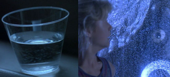 cup of water ripples, t-rex attack, jurassic park,