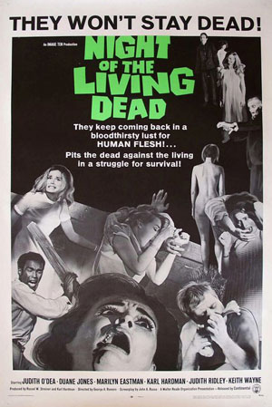 night of the living dead, george a romero, horror, film, zombies,