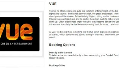 One4all and Vue Cinemas