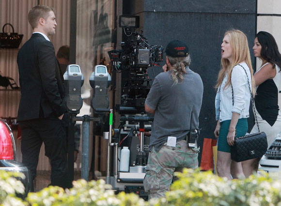 Robert Pattinson on the set of Maps To The Stars