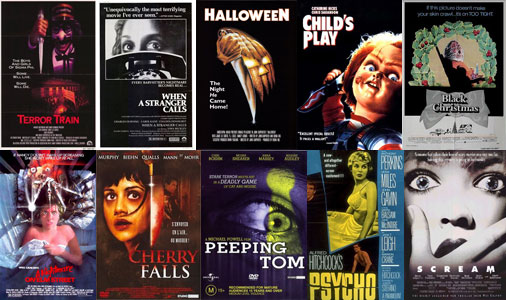 slasher films, horror movies, posters, Halloween, Cherry Falls, Psycho, Peeping Tom, Nightmare on Elm Street, Scream, Terror Train, When A Stranger Calls, Black Christmas, Child's Play