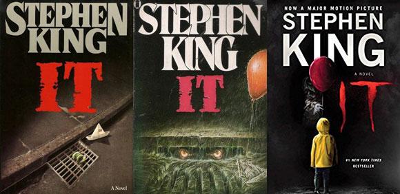 Various cover art for Stephen King's novel IT.
