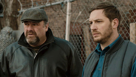 Tom Hardy and James Gandolfini in The Drop
