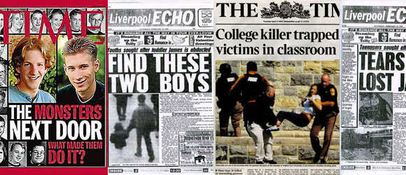 Newspaper coverage of crimes that have been associated with films.